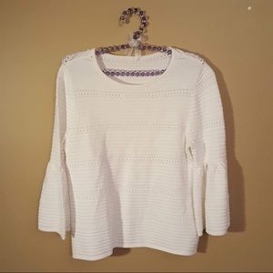 WHBM white bell sleeve top blouse size small